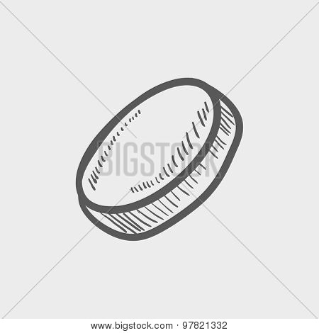 Hockey puck sketch icon for web and mobile. Hand drawn vector dark grey icon on light grey background. poster
