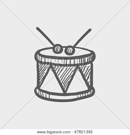 Drum with stick sketch icon for web and mobile. Hand drawn vector dark grey icon on light grey background.