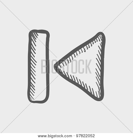 Previous button sketch icon for web and mobile. Hand drawn vector dark grey icon on light grey background.