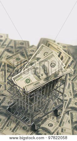 Shopping Spree - money windfall concept.   Cart full of money