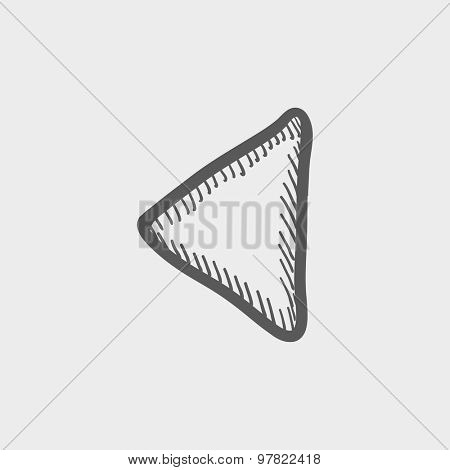 Playback button sketch icon for web and mobile. Hand drawn vector dark grey icon on light grey background.