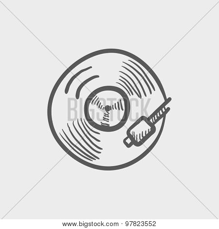 Phonograph turntable sketch icon for web and mobile. Hand drawn vector dark grey icon on light grey background.