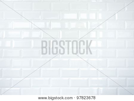 White Ceramic Tile Brick Wall