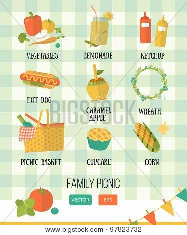Vector family picnic. Summer, spring barbecue and picnic icons set. Flat style.