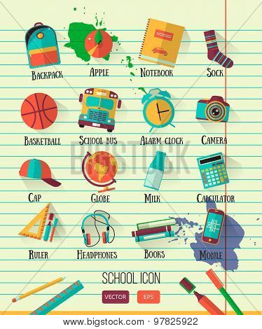 Vector school workspace illustration on line notebook paper. Education school icons set. Flat style.