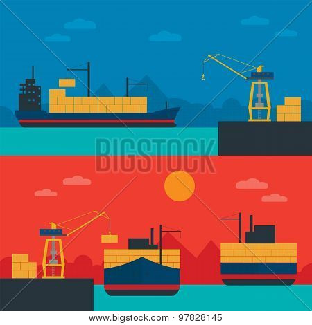 Container ships, delivery containers by sea. Cargo terminal, seaport, ship, port crane. Container shipments. Logistic Service, Sea Port. Marine container ship. Business about transportation. Ship. poster