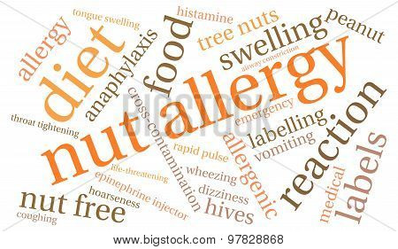 Nut allergy word cloud on a white background. poster