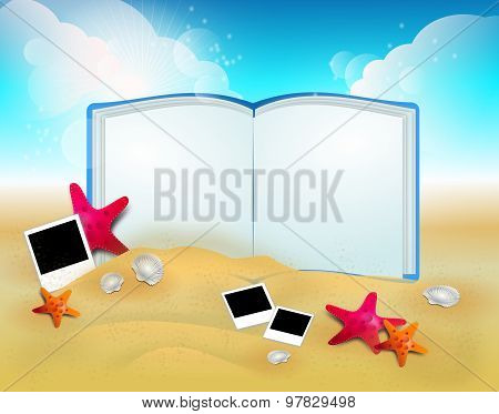 Summer Background With Photography And Open Book