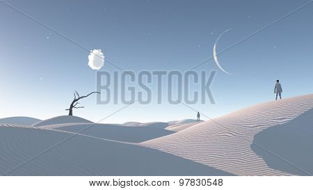 Man in desert with bare tree and moon Surreal Haunting Desert