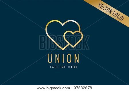 Heart Icon vector logo template. Love, health, doctor or relations, wedding, foundation, gold symbol