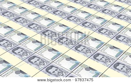 Colombian pesos bills stacks background.