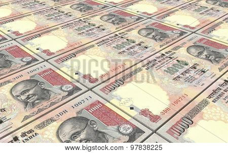 India Rupee bills stacks background.