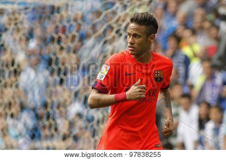 BARCELONA - APRIL, 25: Neymar da Silva of FC Barcelona during a Spanish League match against RCD Espanyol at the Power8 stadium on April 25 2015 in Barcelona Spain