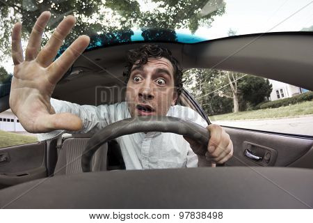 Silly man gets into car crash and makes ridiculous face poster