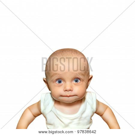 Funny portrait of an adorable baby boy sucking lips with blue eyes on white background