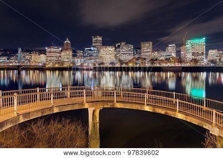 Portland Skyline From Pedestrian Bridge