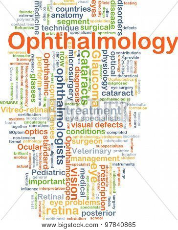 Background concept wordcloud illustration of ophthalmology poster