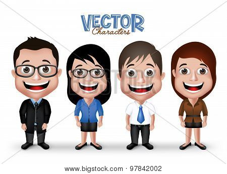 Set of Realistic 3D Professional Man and Woman Characters Happy Smiling