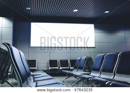 Mock up in interior public commercial board in waiting of airport hall with empty chairs