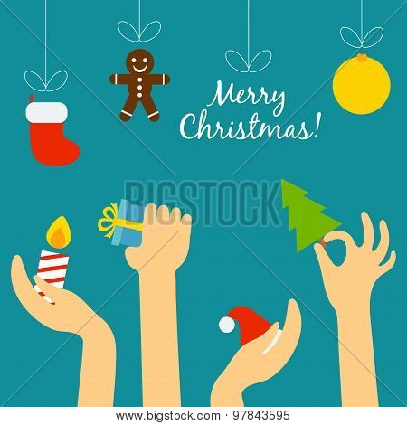 People hand holding a Christmas symbolism and stretch the threads on which hang party supplies