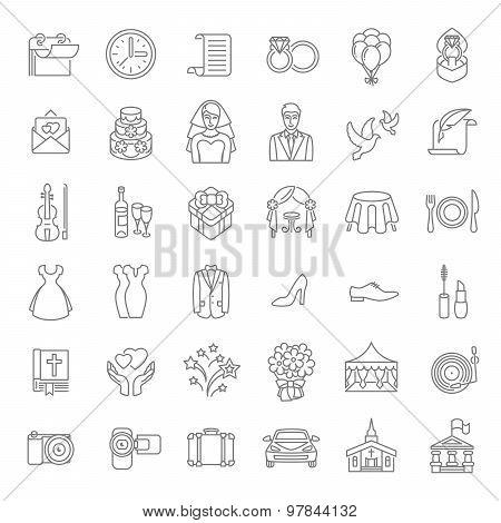 Modern Flat Linear Vector Wedding Icons