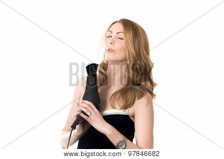 Girl Using Hair Dryer As Gun