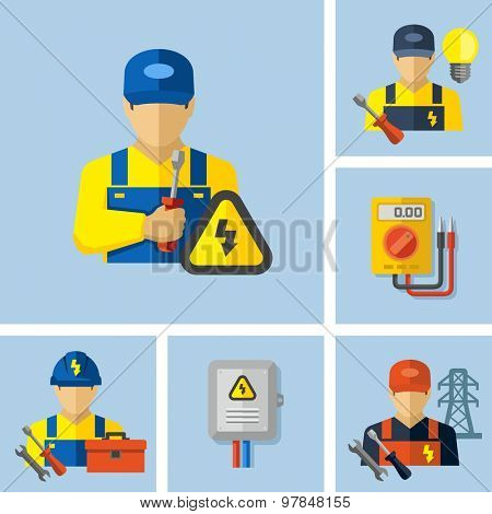 Electrician worker icons