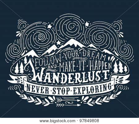 Hand Drawn Vintage Label With Mountains, Forest And Lettering