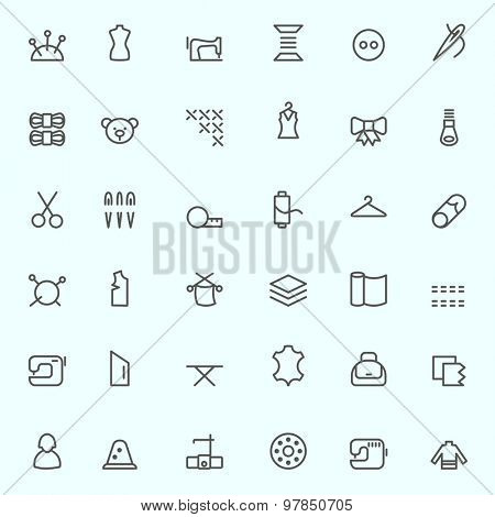 Sewing and needlework icons, simple and thin line design