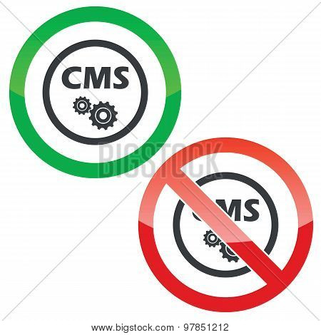 CMS settings permission signs