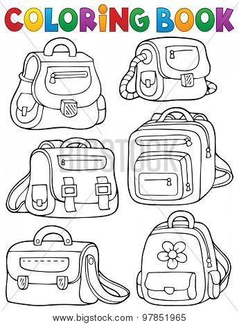 Coloring book school bags theme 1 - eps10 vector illustration.