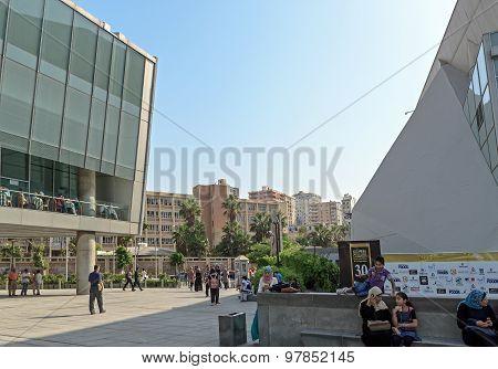 Basement Courtyard Near Main Entrance Of Alexandria Library