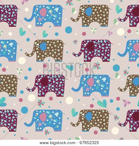 Cartoon Funny Elephant Painted In Imaginary Colors Seamless Pattern Background