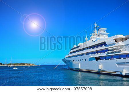 Luxury Yacht And Shining Sun