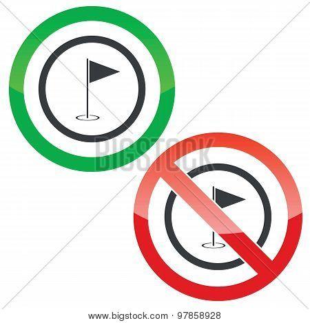 Golf permission signs