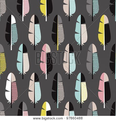 Seamless colorful retro bird feathers abstract scandinavian style illustration background pattern in vector
