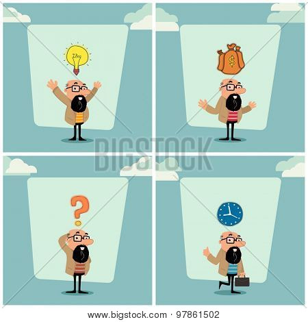 Creative illustration of a businessman character in different position.