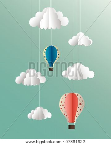 Paper clouds and balloons illustration on blue background