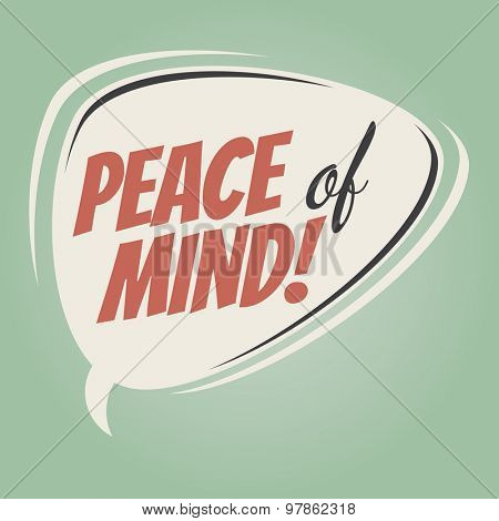 peace of mind retro speech balloon