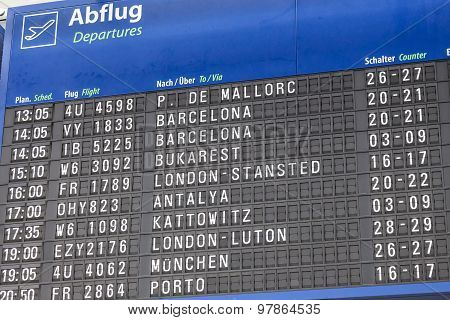 Departures Board At The Airport