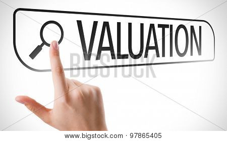 Valuation written in search bar on virtual screen
