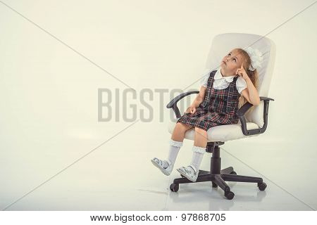 Kid Sit On Chair And Thinking, Isolated