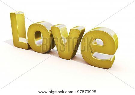 3d golden word love in white studio