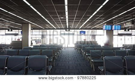 Airport Seat Row With Boarding Gate Number, Abstract Traveling