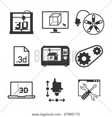 3D printing & Interface UI icons set // Black & White