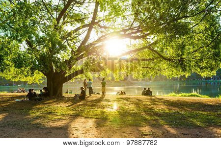 SAO PAULO, BRAZIL - CIRCA AUGUST 2014: People enjoy the Ibirapuera Park. Ibirapuera Park is the largest park in Sao Paulo, Brazil.