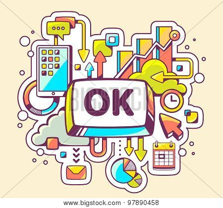Vector Colorful Illustration Of Business Processes And Ok Button On Light Background.