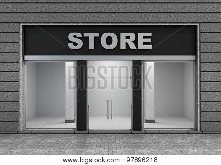 Modern Empty Store Front With Big Window.