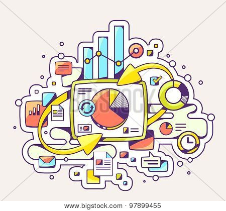 Vector Color Illustration Of Chart And Business Information On Light Background.