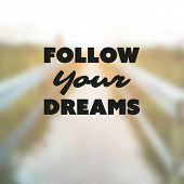 Follow Your Dreams - Inspirational Quote, Slogan, Saying - Success Concept Illustration with Label and Blurry Natural Wooden Pathway Image Background poster